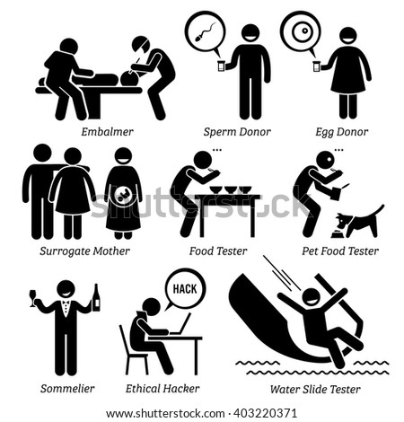 Weird Unusual Odd Job - Embalmer, Sperm Egg Donor, Surrogate Mother, Pet Food Taster, Sommelier, Ethical Hacker, Water Slide Tester - Stick Figure Pictogram Icons - stock vector