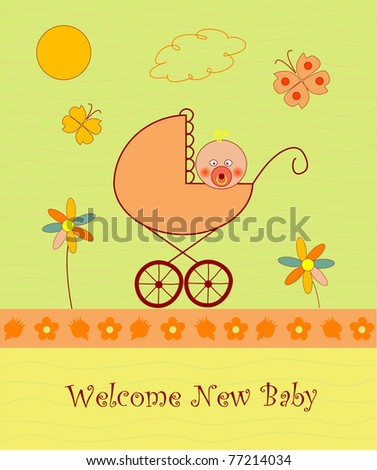 Welcome baby announcement card - stock vector