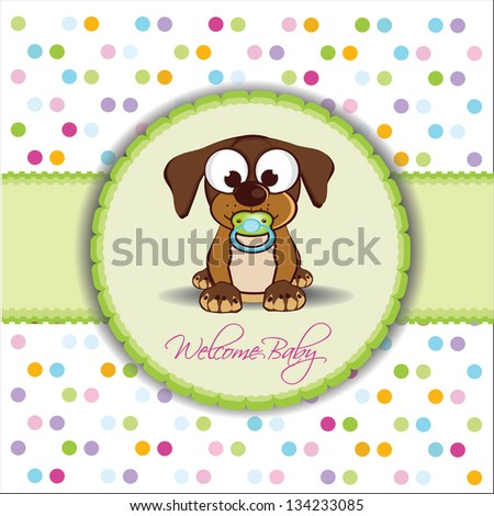 welcome baby, baby shower, colorful invitation with little dog - stock vector