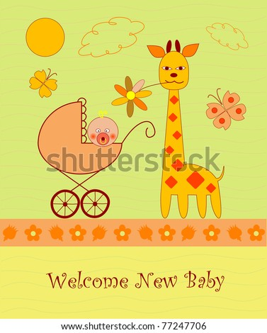 Welcome baby card - stock vector