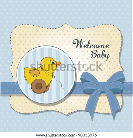 welcome baby card with duck toy - stock vector