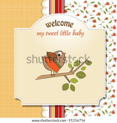 welcome baby card with funny little bird