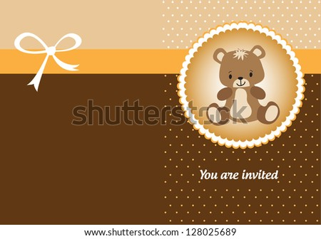 Welcome baby greeting card for boys and girls with teddy bear - stock vector