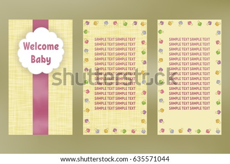 Welcome baby greeting card birthday vector stock vector 635571044 welcome baby greeting card with birthday vector beige postcard with purple ribbon m4hsunfo