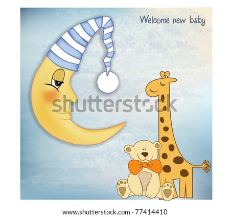welcome baby greetings card - stock vector