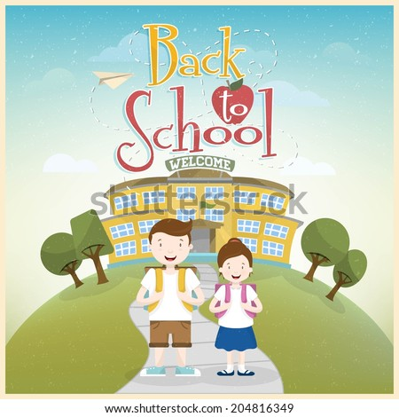 Welcome Back to School Background. Schoolboy and schoolgirl go to school. - stock vector