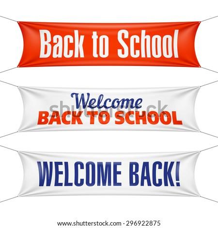 Welcome Back to School banners. Vector. - stock vector