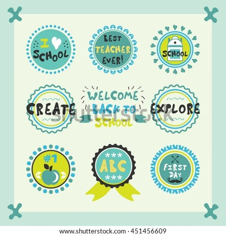 Welcome Back To School blue cute circle emblems and labels set