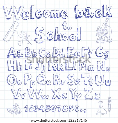 Welcome back to school doodle font on lined sheet - stock vector