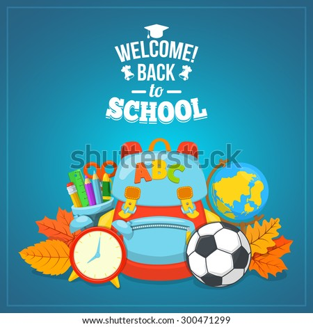 Welcome back to school. Education background design. School year beginning. Colorful vector composition.  - stock vector
