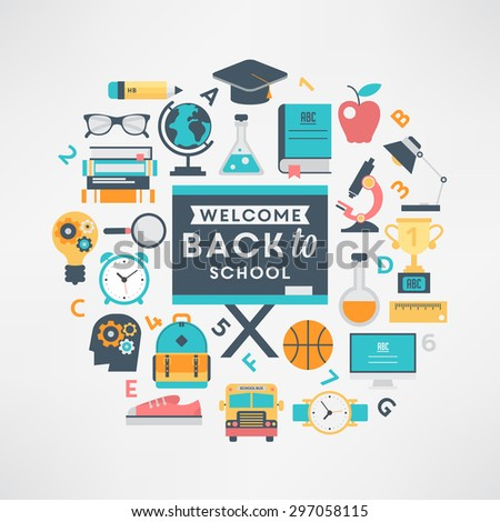 Welcome back to school flat design education icon set - stock vector
