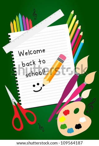 Welcome back school greeting card colorful stock vector 109564187 welcome back to school greeting card with colorful pencils brushes and ruler m4hsunfo