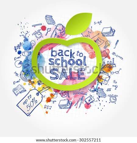 Welcome back to school SALE background, with hand drawn doodle elements and paper apple symbol. Banner for your design.  Vector illustration.  - stock vector