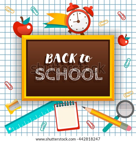 Welcome back school typographical background school stock vector welcome back to school typographical background with school icon elements template for school invitation stopboris Images