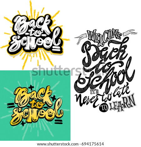 welcome back to schoolvector hand drawn lettering print labels