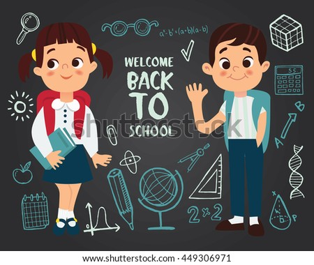 Welcome back to school, vector illustration. - stock vector