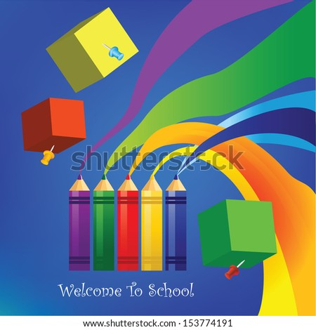 welcome back to school.vector illustration.elements are layered separately in vector file,Easy editable,funny background for school, - stock vector