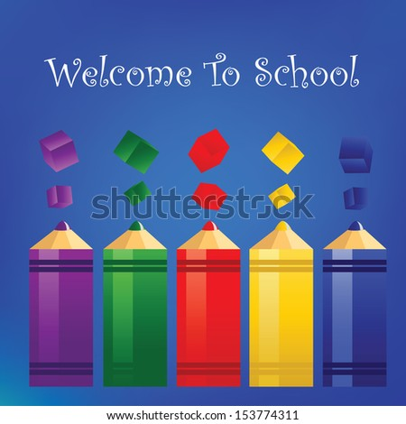 welcome back to school.vector illustration.elements are layered separately in vector file,Easy editable,funny background for school - stock vector