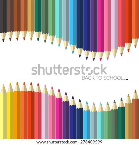 welcome back to school with colored pencil vector background - stock vector