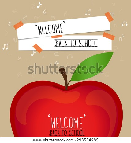 Welcome back to school with paper note, vector illustration. - stock vector
