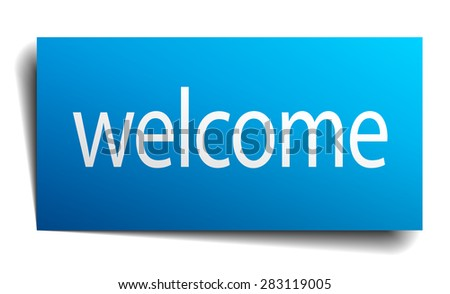 welcome blue paper sign isolated on white