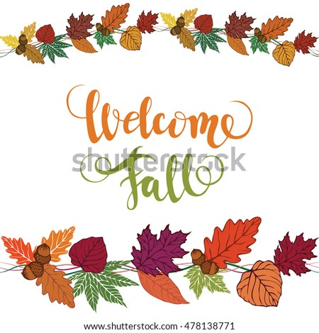 Welcome fall vector brush lettering vector stock vector hd royalty welcome fall vector brush lettering vector card design with custom calligraphy autumn m4hsunfo Image collections
