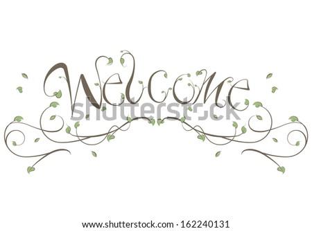 Welcome Floral Vines Lettering Illustration - stock vector