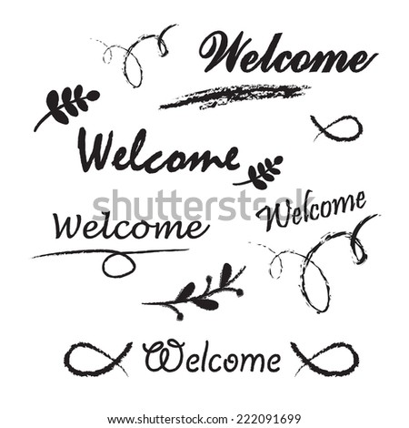 Welcome lettering. Chalk letters on the white background - stock vector
