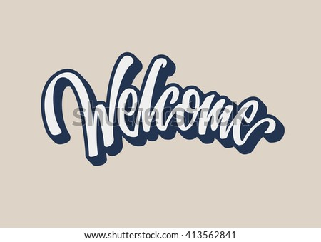 Welcome lettering text - stock vector