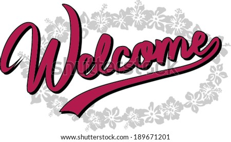 welcome -lettering vector - stock vector