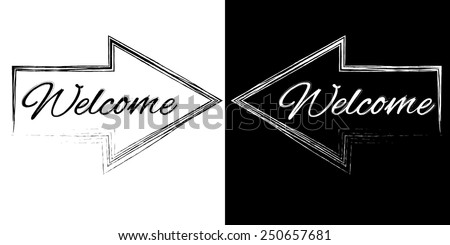 Welcome on a black and white arrows - stock vector