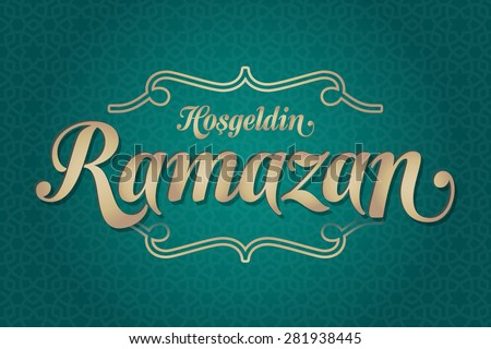 Welcome Ramadan (Turkish: Hosgeldin Ramazan) greeting card. Holy month of muslim community Ramazan background with hanging arabic pattern. Green background - stock vector