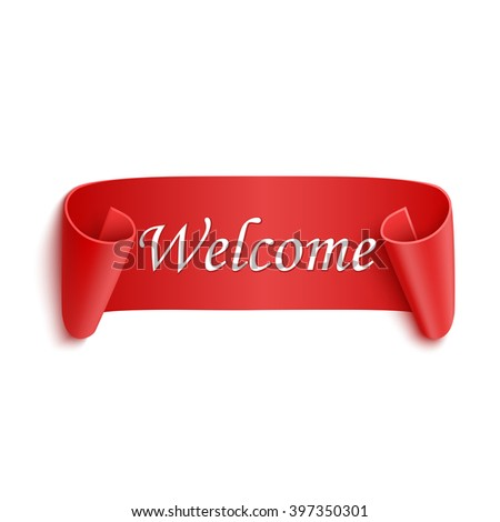 Welcome red realistic sticker isolated on white - stock vector