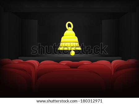welcome ring on the stage in theater interior vector illustration - stock vector