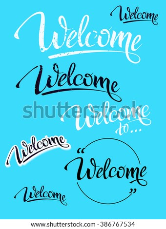 Welcome Sign Symbol Word Welcome Hand Lettering Stock Vector Hd