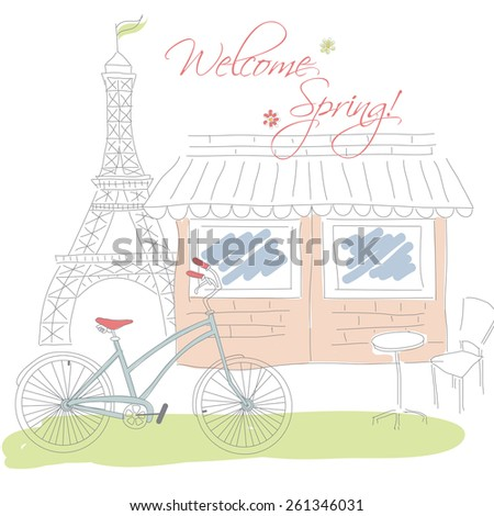 Welcome spring in Paris postcard, hand drawn, vector illustration - stock vector