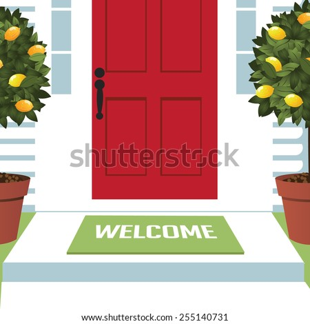Welcome spring wreath mat at front door with lemon trees EPS 10 vector royalty free stock illustration for greeting card, ad, promotion, poster, flier, blog, article, open house, party, new neighbors - stock vector