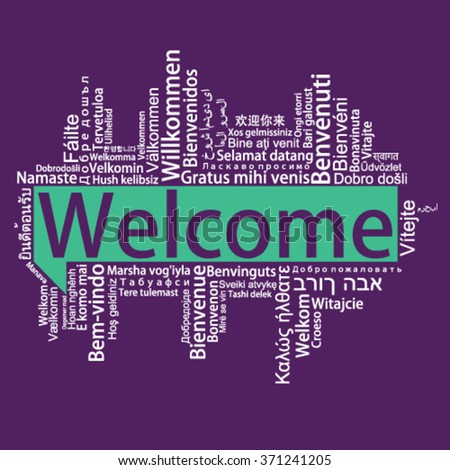 Welcome Tag Cloud in different languages, vector - stock vector