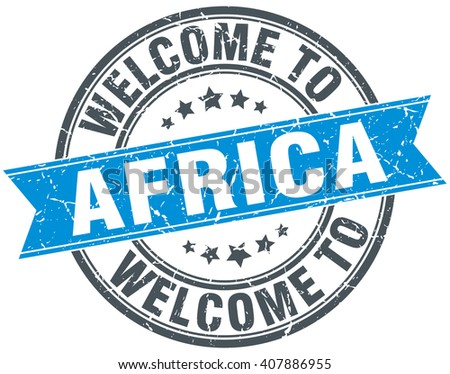 welcome to Africa blue round vintage stamp