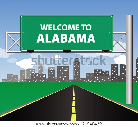 welcome to Alabama traffic sign - stock vector