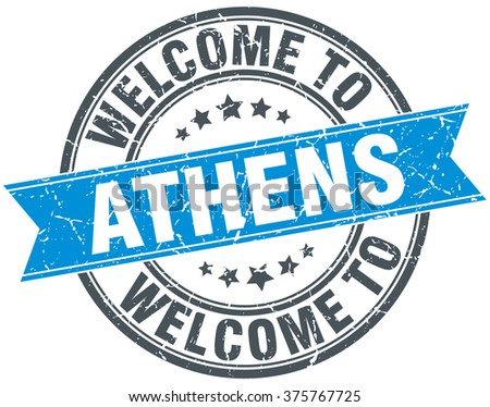 welcome to Athens blue round vintage stamp