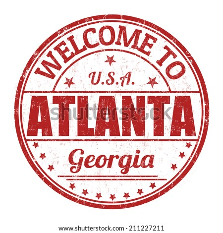 Welcome to Atlanta grunge rubber stamp on white background, vector illustration - stock vector