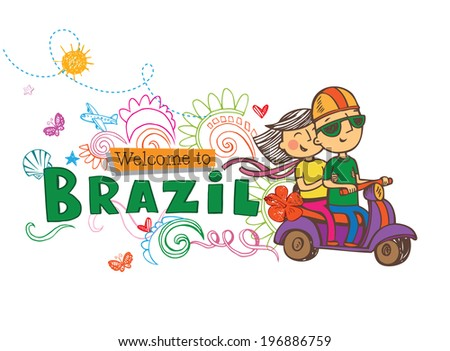 Welcome to Brazil, post card in doodle style  - stock vector