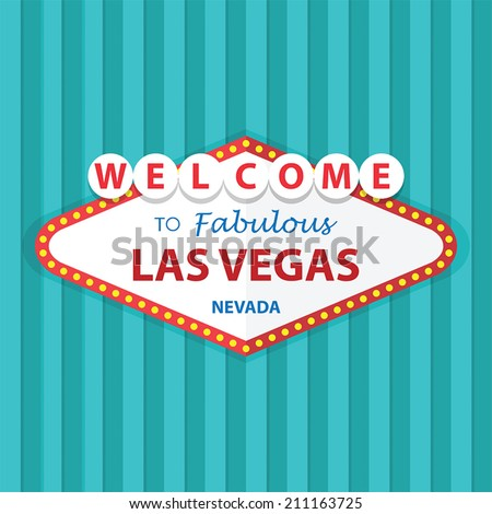 Welcome to Fabulous Las Vegas Nevada Sign On Curtains Background, VECTOR, EPS10 - stock vector