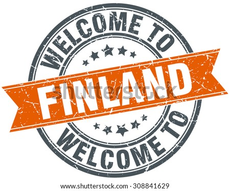 welcome to Finland orange round ribbon stamp - stock vector