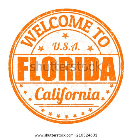 Welcome to Florida grunge rubber stamp on white background, vector illustration - stock vector