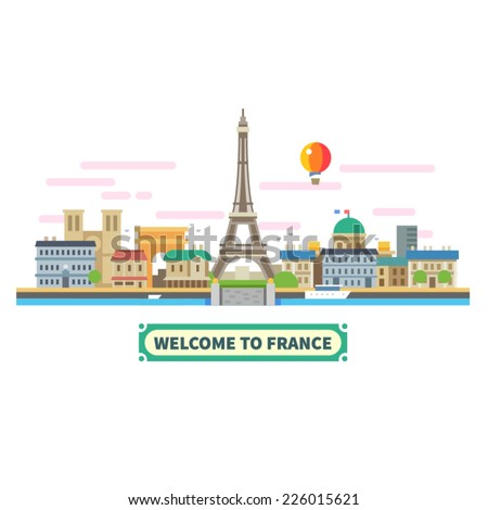 Welcome to France. Attractions of Paris, the Eiffel Tower landscape, balloon. Vector flat illustration - stock vector