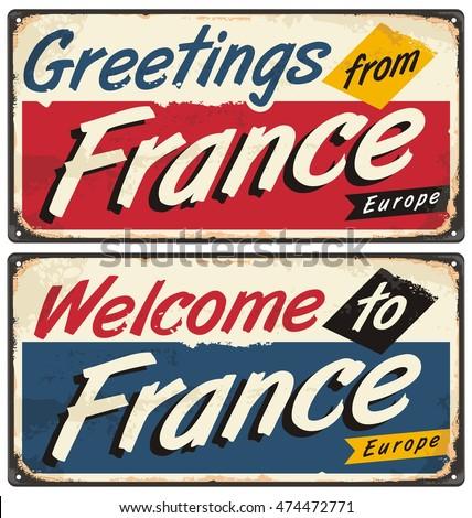 Welcome france retro metal plate templates stock vector royalty welcome to france retro metal plate templates vintage souvenir or postcard concept on antique tin m4hsunfo
