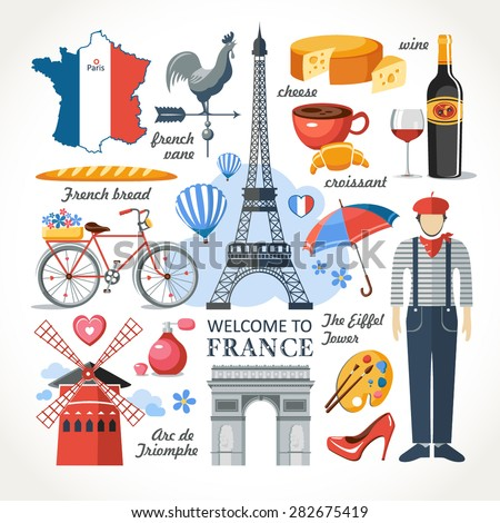 welcome to France romance set - stock vector