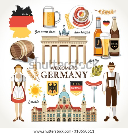 welcome to Germany set - stock vector